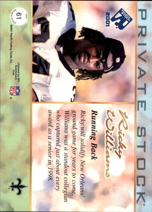 2001 Private Stock #61 Ricky Williams back image