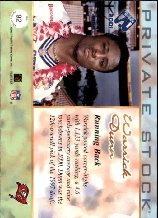 2001 Private Stock #92 Warrick Dunn back image