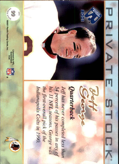 2001 Private Stock #99 Jeff George back image