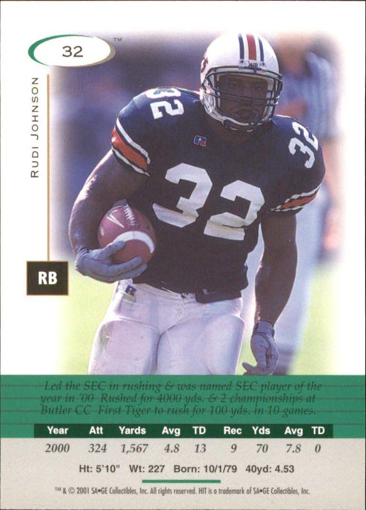 2001 SAGE HIT #32 Rudi Johnson back image