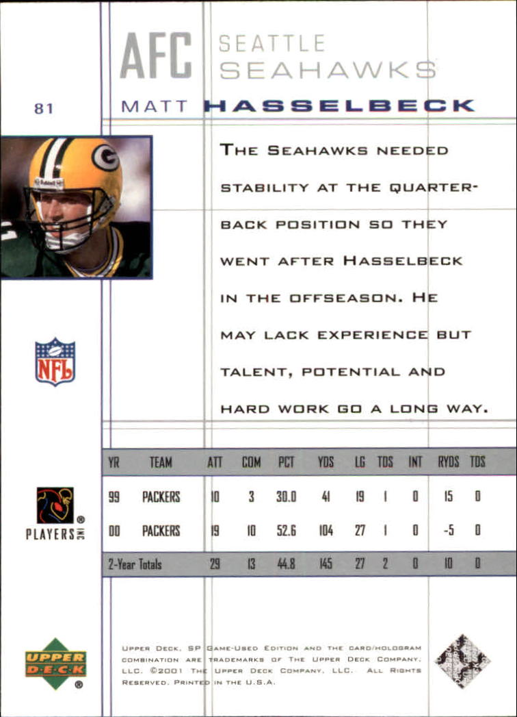2001 SP Game Used Edition #81 Matt Hasselbeck back image