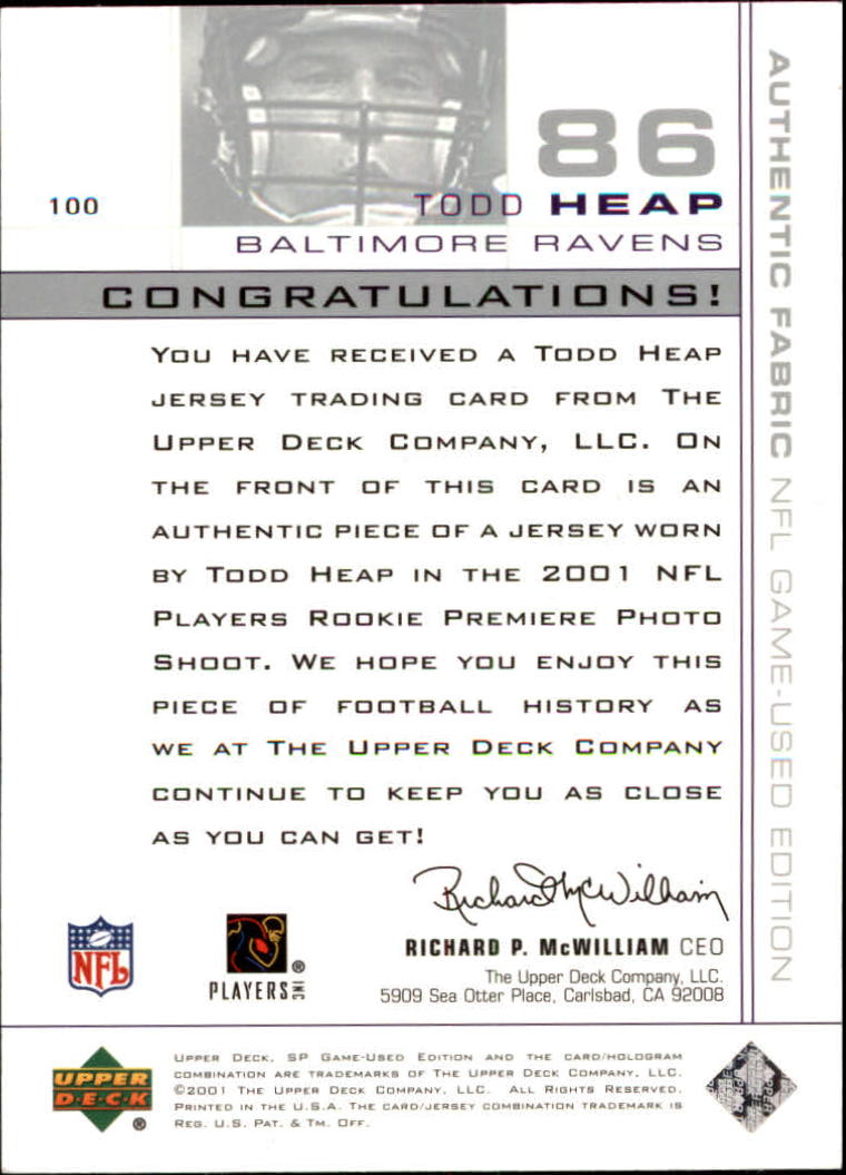 2001 SP Game Used Edition #100 Todd Heap JSY RC back image