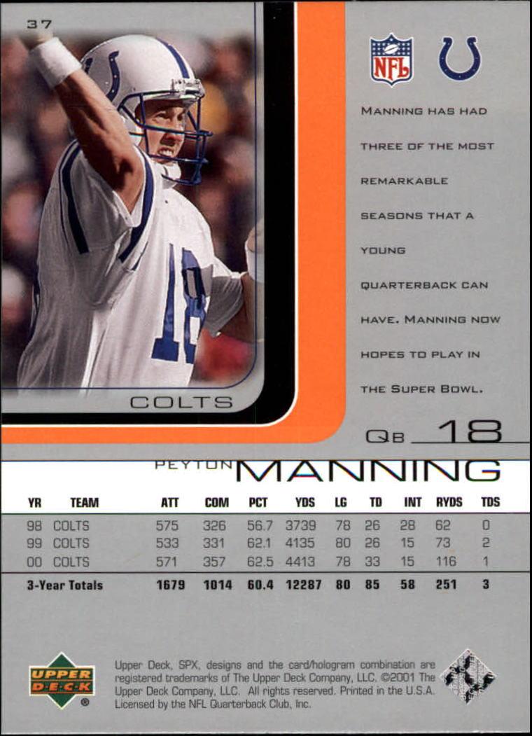 2001 SPx #37 Peyton Manning back image