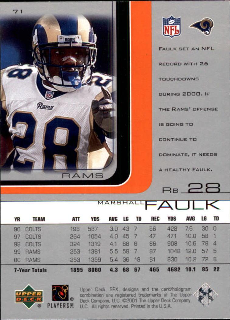 2001 SPx #71 Marshall Faulk back image