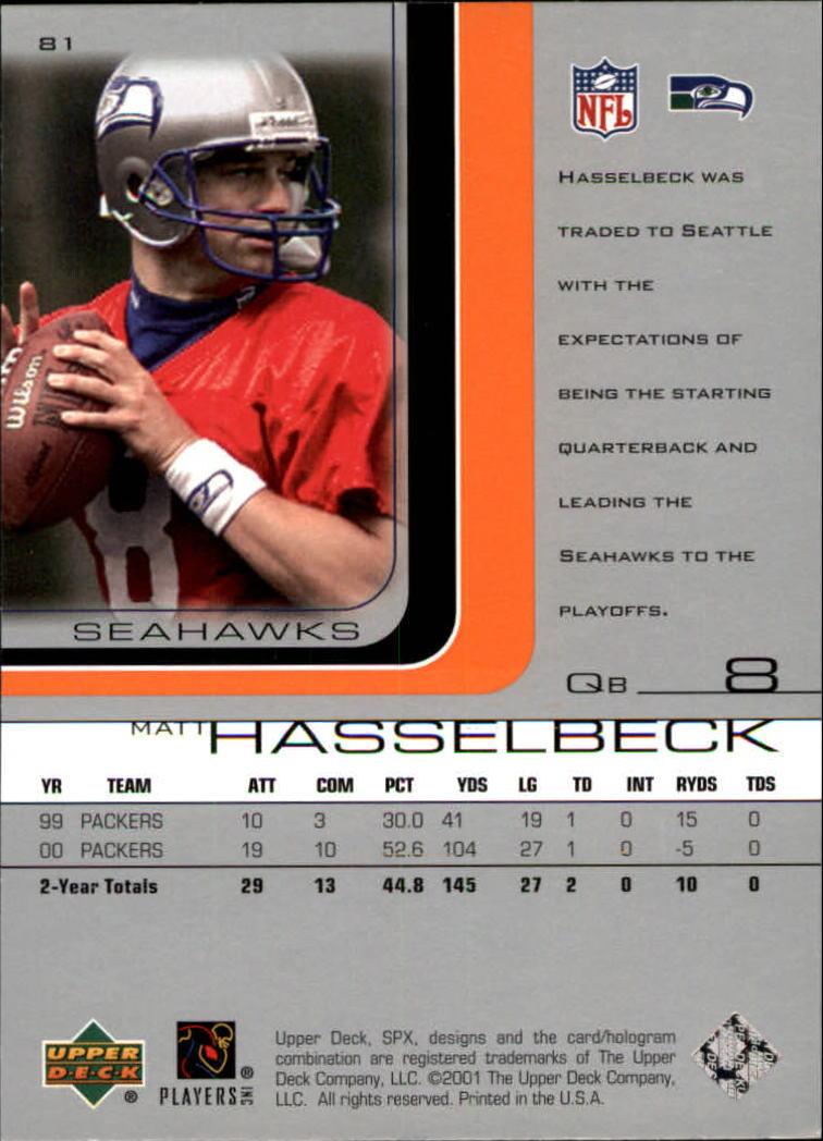 2001 SPx #81 Matt Hasselbeck back image