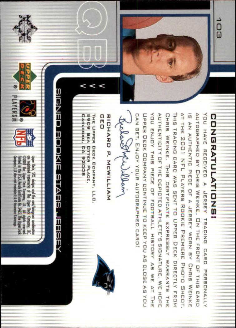 2001 SPx #103G Chris Weinke JSY AU/550 RC back image