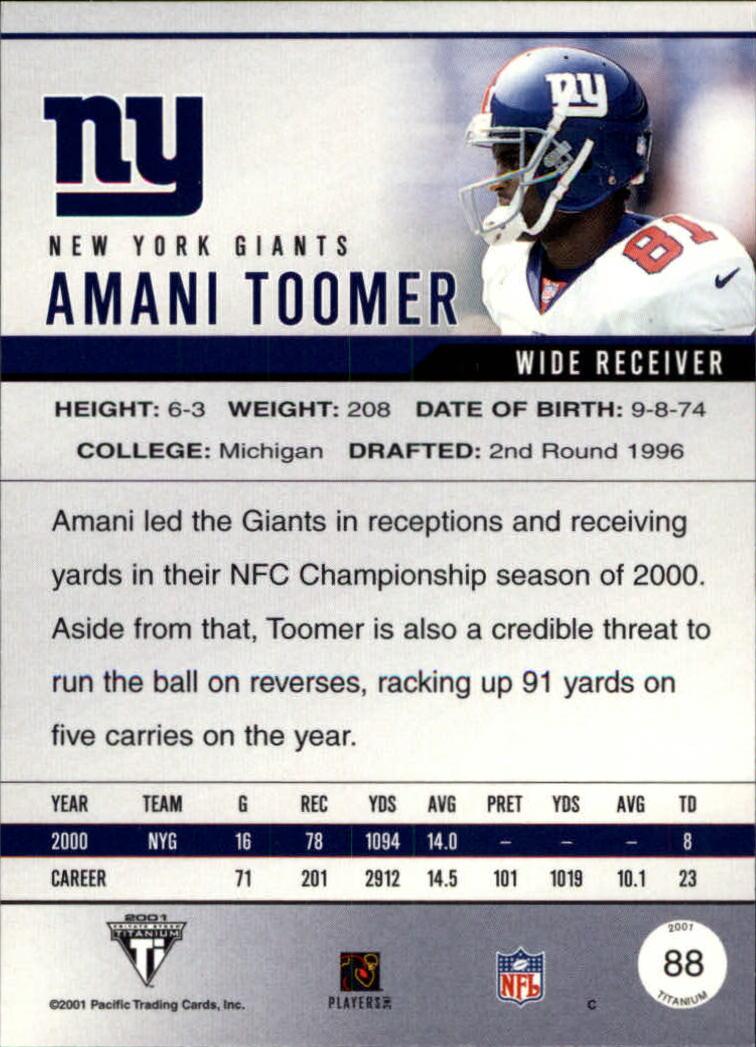 2001 Titanium #88 Amani Toomer back image