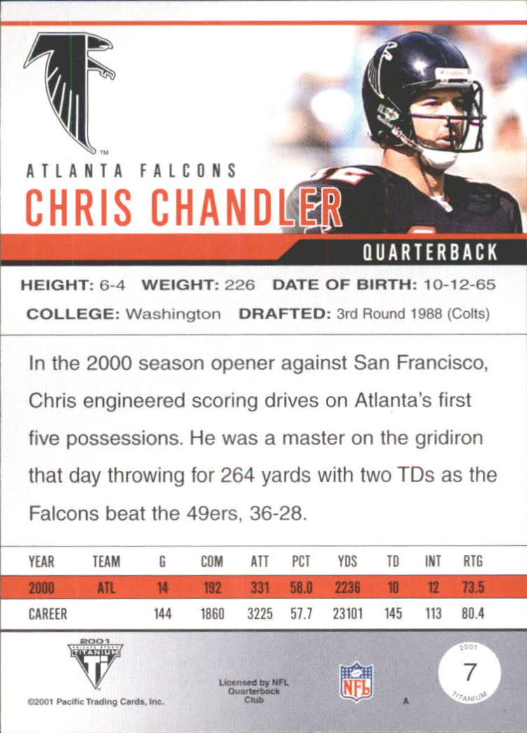 2001 Titanium Premiere Date #7 Chris Chandler back image