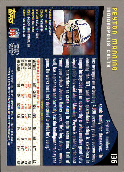 2001 Topps #136 Peyton Manning back image
