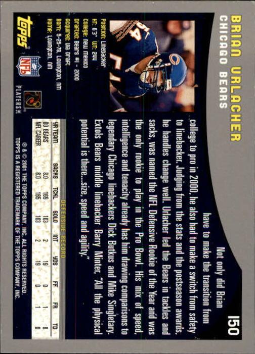 2001 Topps #150 Brian Urlacher back image