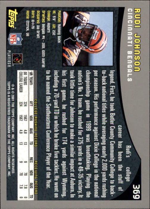 2001 Topps #369 Rudi Johnson RC back image