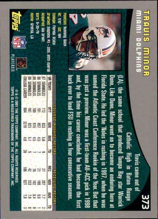 2001 Topps #373 Travis Minor RC back image