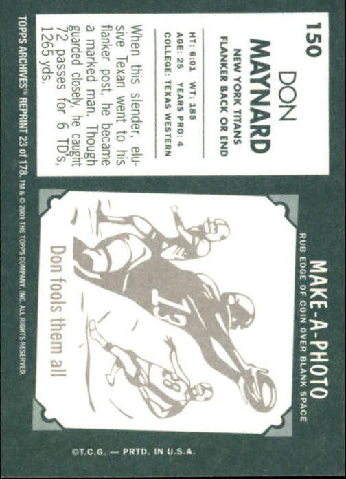 2001 Topps Archives #23 Don Maynard 61 back image