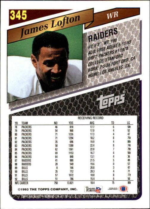 2001 Topps Archives #39 James Lofton 79 back image