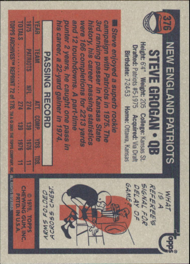 2001 Topps Archives #72 Steve Grogan 76 back image