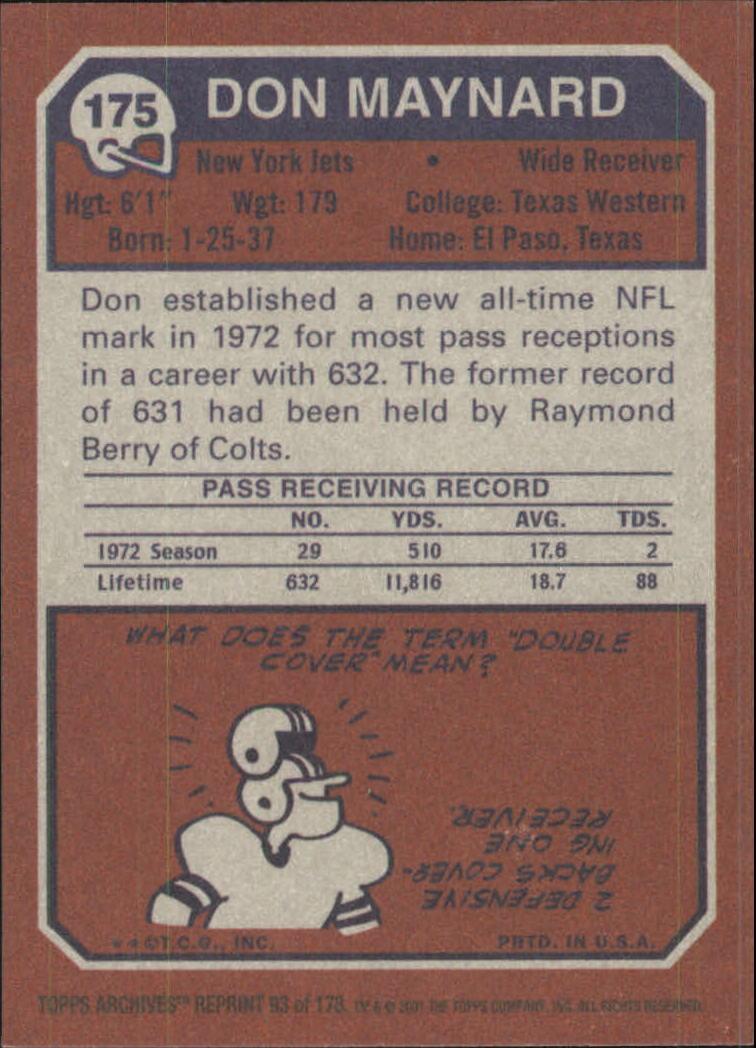 2001 Topps Archives #93 Don Maynard 73 back image