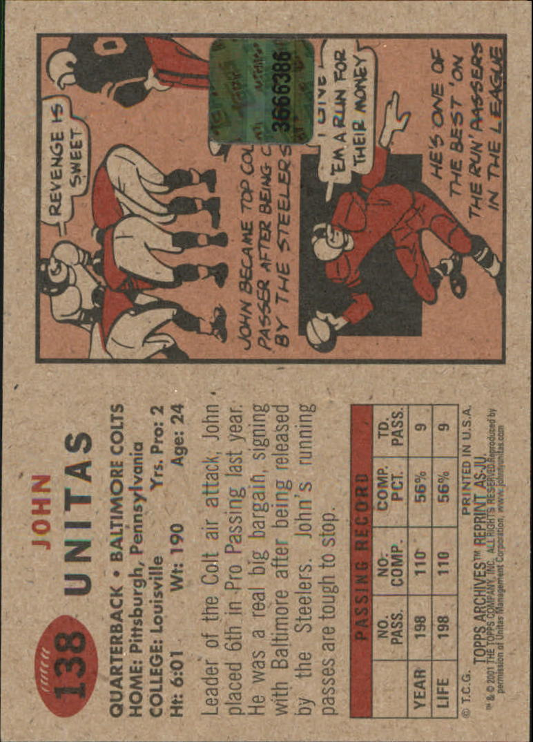 2001 Topps Archives Relic Seats #ASJU Johnny Unitas back image