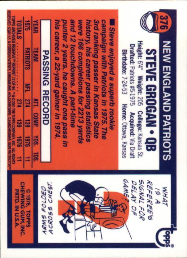 2001 Topps Archives Reserve #72 Steve Grogan 76 back image