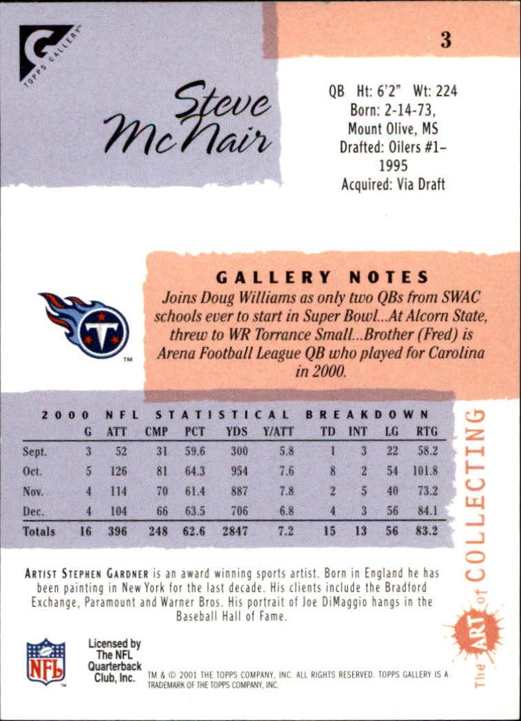 2001 Topps Gallery #3 Steve McNair back image