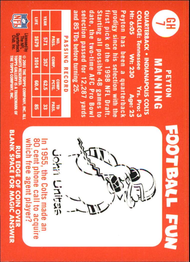 2001 Topps Gallery Heritage #GH7 Peyton Manning back image