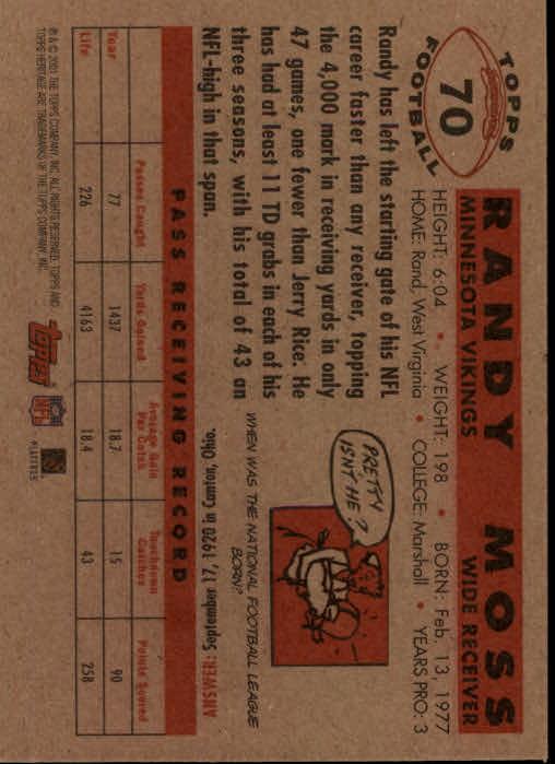 2001 Topps Heritage #70 Randy Moss back image