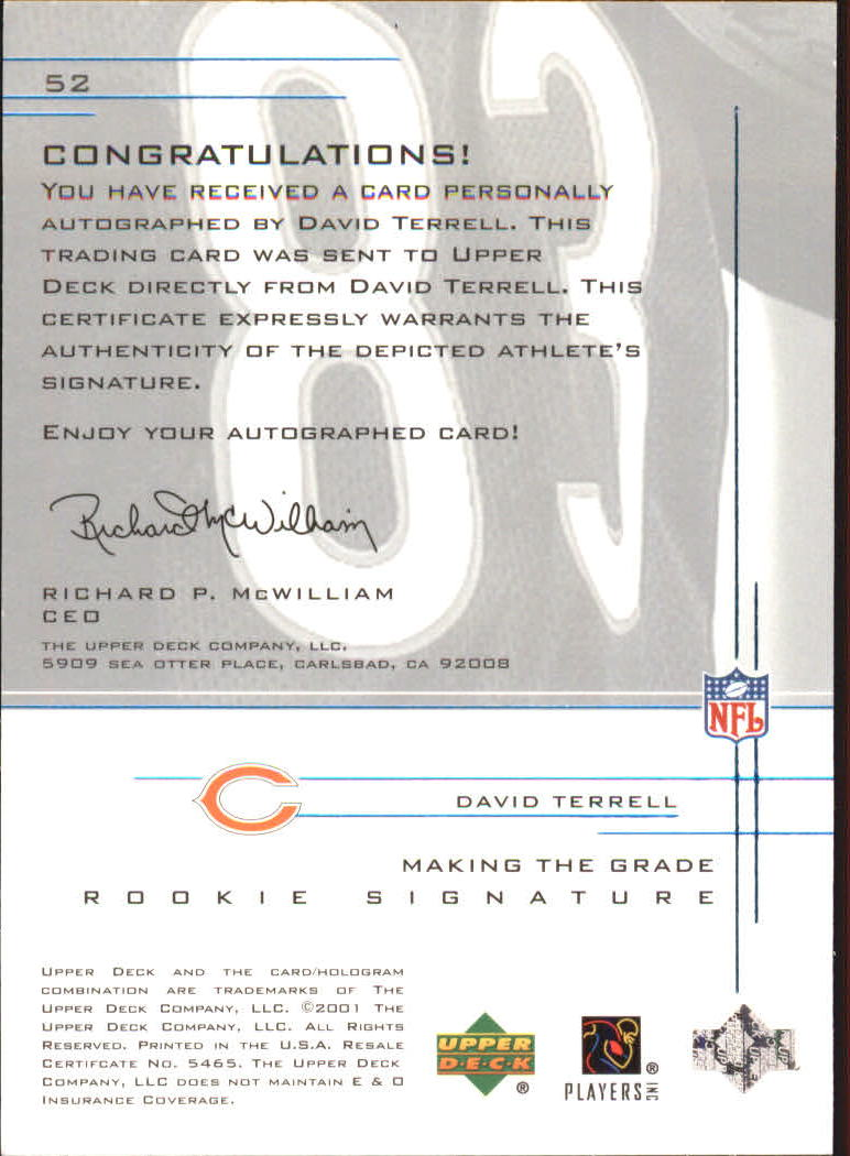 2001 UD Graded Rookie Autographs #52 David Terrell/500 back image