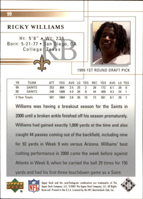 2001 Upper Deck #99 Ricky Williams back image