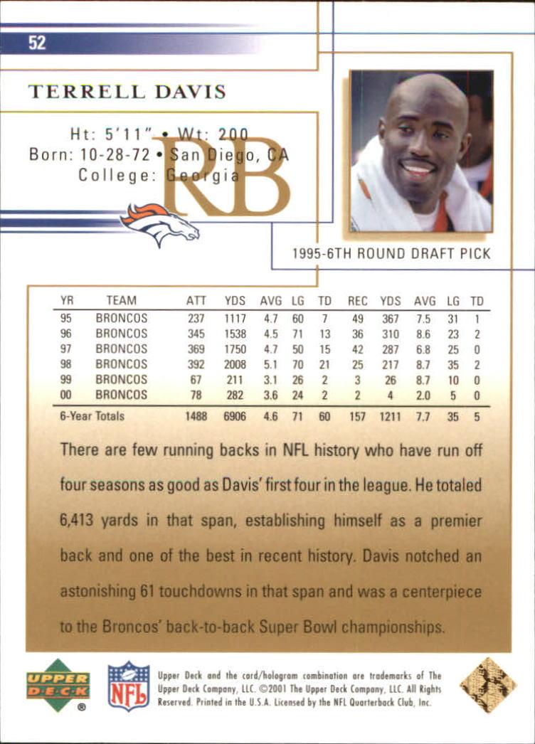 2001 Upper Deck Gold #52 Terrell Davis back image