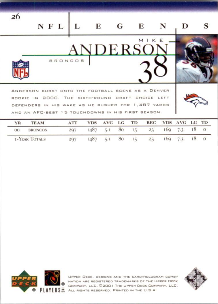 2001 Upper Deck Legends #26 Mike Anderson back image