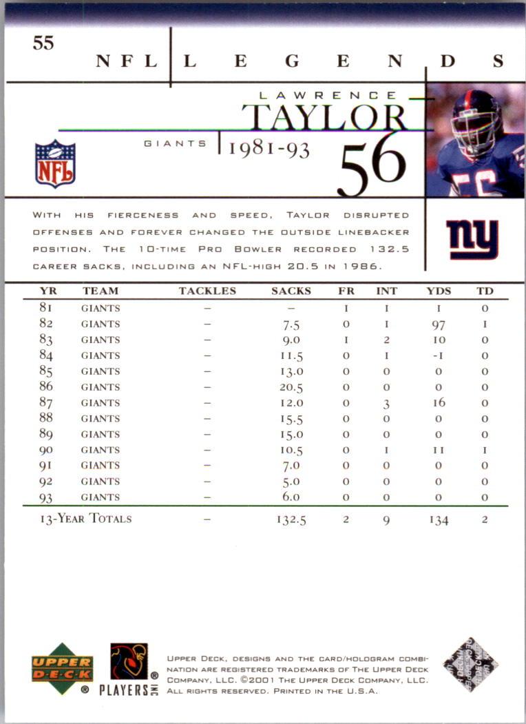 2001 Upper Deck Legends #55 Lawrence Taylor back image