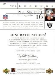 2001 Upper Deck Legends Autographs #JP2 Jim Plunkett back image