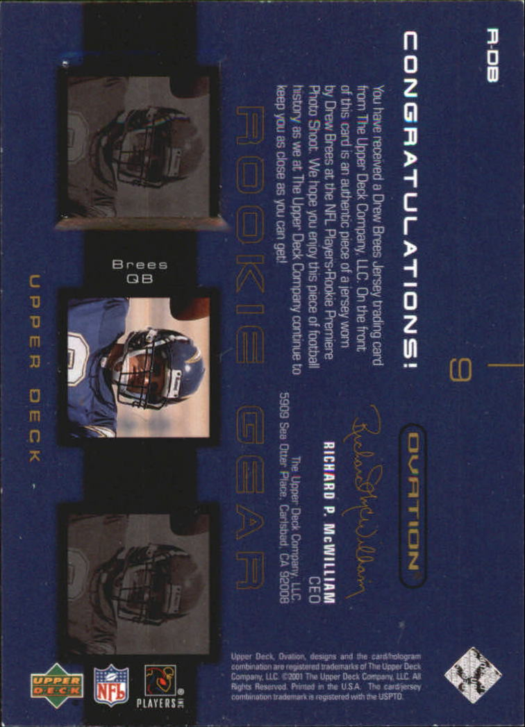 2001 Upper Deck Ovation Rookie Gear #RDB Drew Brees back image