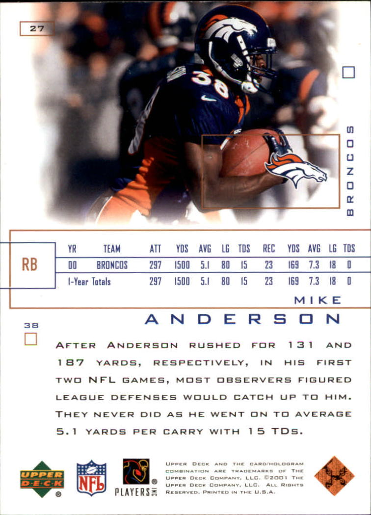 2001 Upper Deck Pros and Prospects #27 Mike Anderson back image