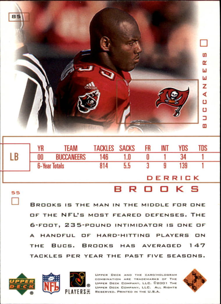 2001 Upper Deck Pros and Prospects #85 Derrick Brooks back image