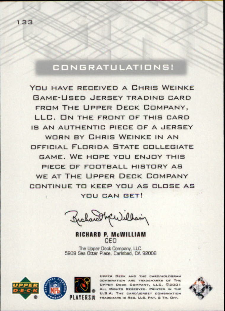 2001 Upper Deck Pros and Prospects #133 Chris Weinke JSY RC back image