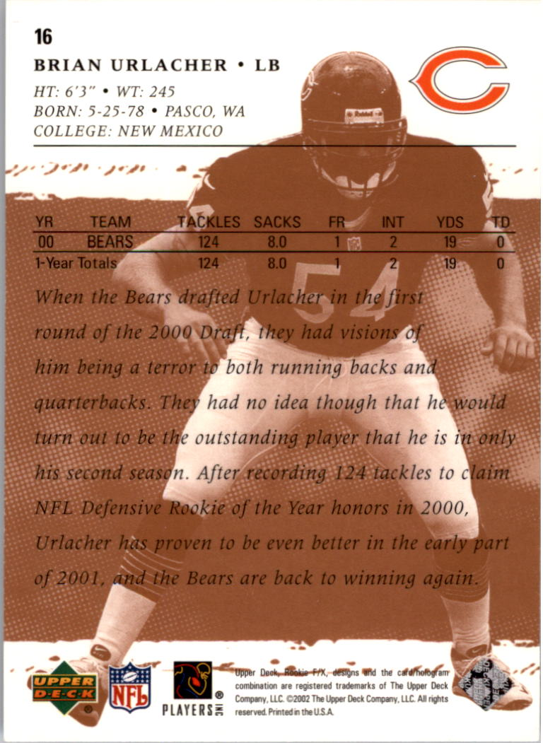 2001 Upper Deck Rookie F/X #16 Brian Urlacher back image