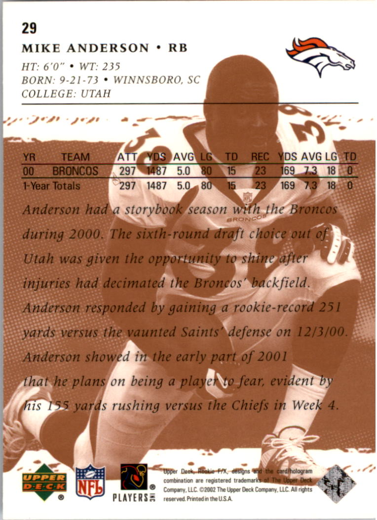 2001 Upper Deck Rookie F/X #29 Mike Anderson back image