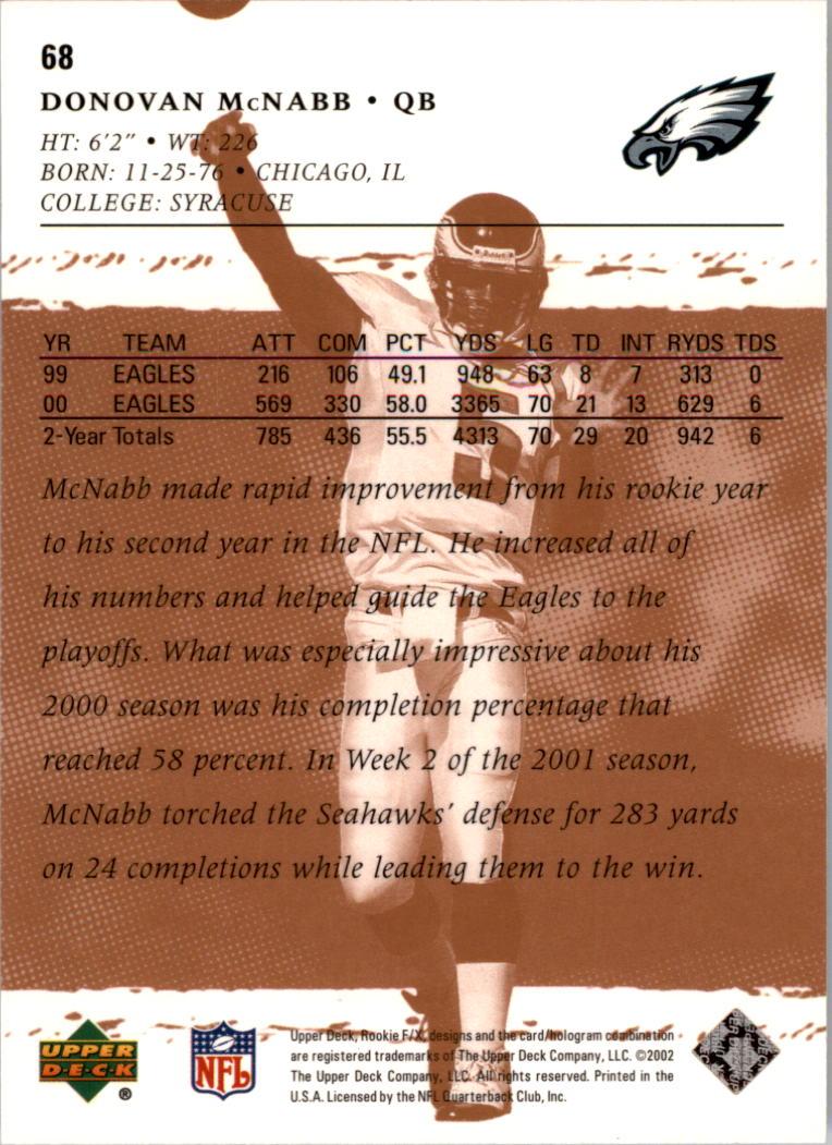 2001 Upper Deck Rookie F/X #68 Donovan McNabb back image