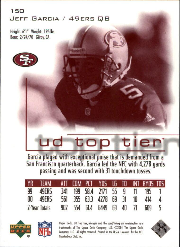 2001 Upper Deck Top Tier #150 Jeff Garcia back image