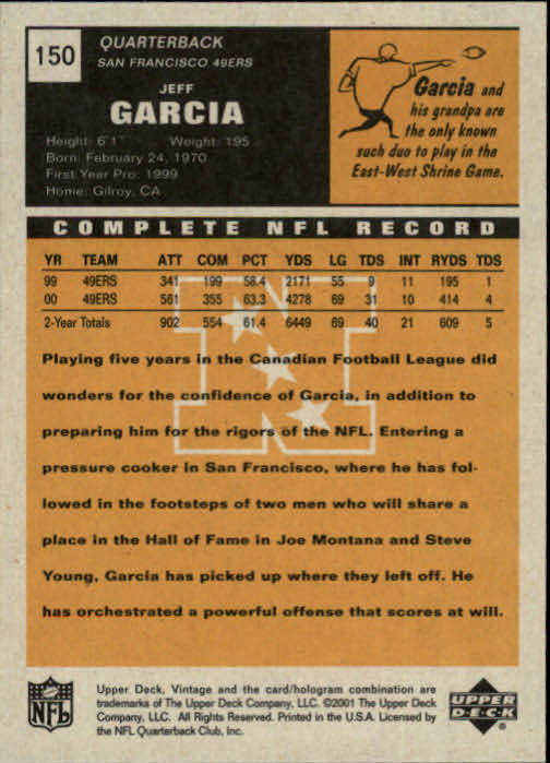 2001 Upper Deck Vintage #150 Jeff Garcia back image