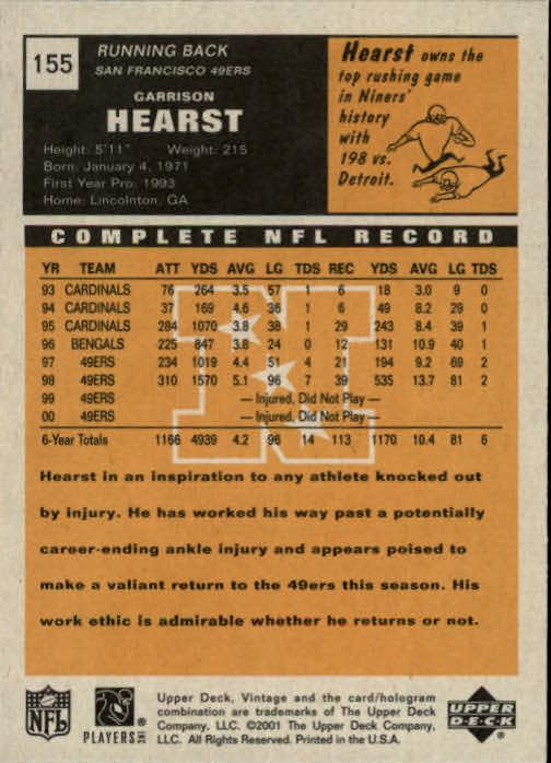 2001 Upper Deck Vintage #155 Garrison Hearst back image