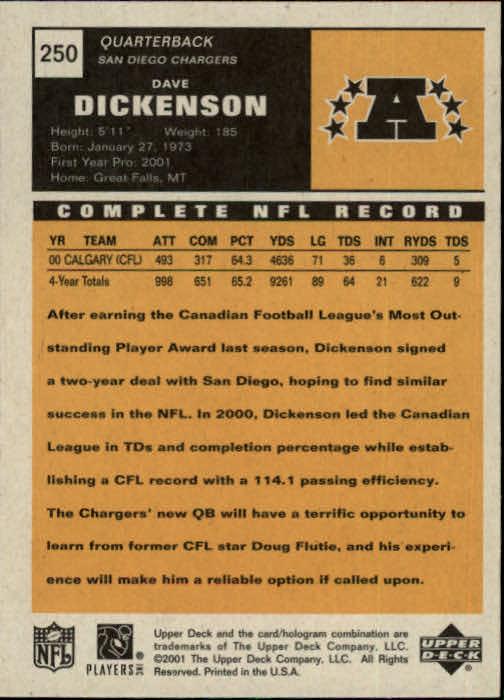 2001 Upper Deck Vintage #250 Dave Dickenson RC back image