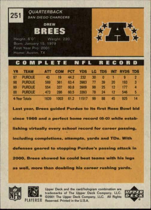 2001 Upper Deck Vintage #251 Drew Brees RC back image