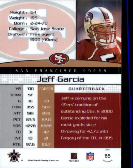 2001 Vanguard #85 Jeff Garcia back image