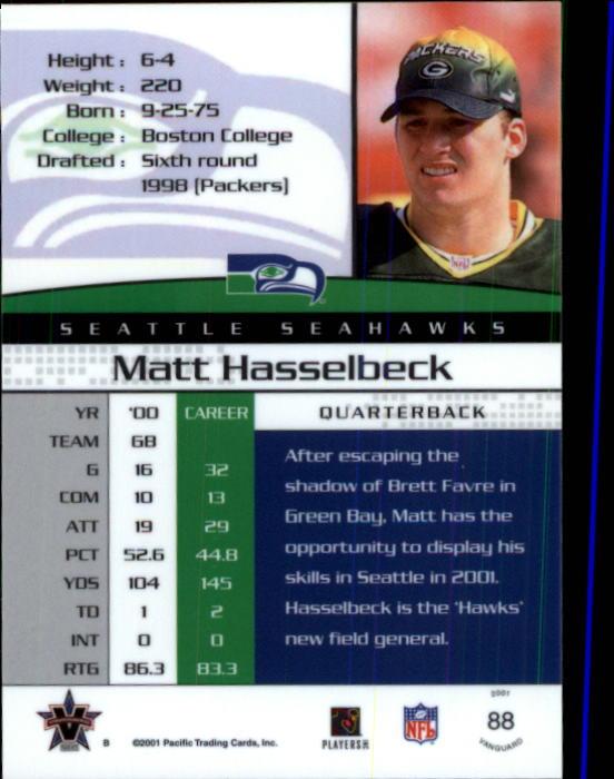 2001 Vanguard #88 Matt Hasselbeck back image