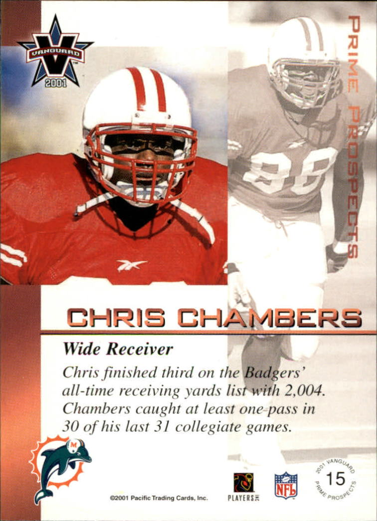 2001 Vanguard Prime Prospects Bronze #15 Chris Chambers back image