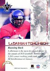 2001 Vanguard Prime Prospects Bronze #29 LaDainian Tomlinson back image