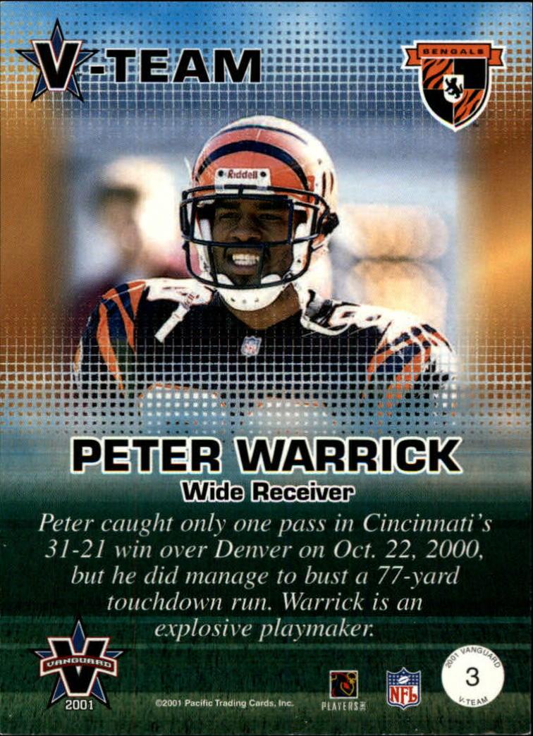 2001 Vanguard V-Team #3 Peter Warrick back image