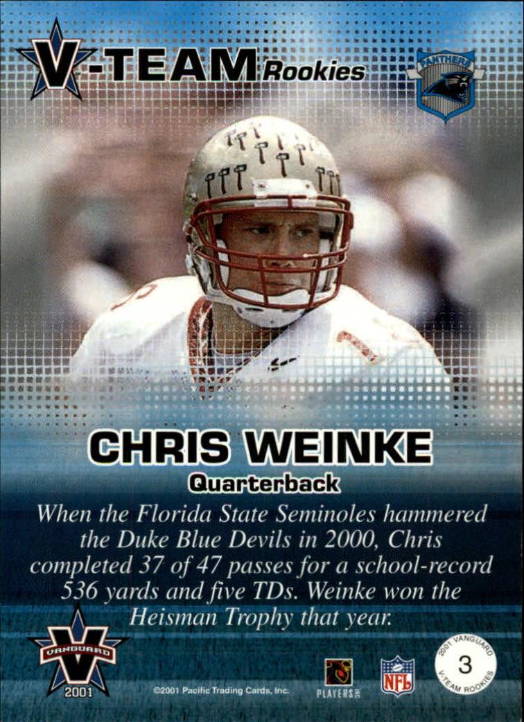 2001 Vanguard V-Team Rookies #3 Chris Weinke back image