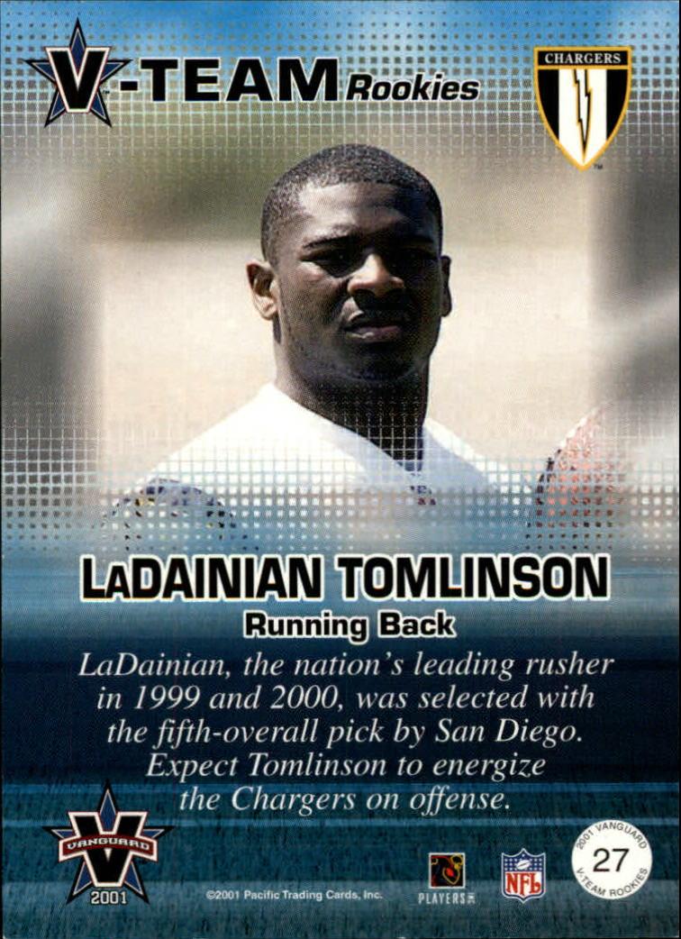 2001 Vanguard V-Team Rookies #27 LaDainian Tomlinson back image